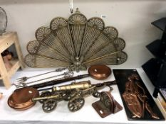 A selection of brass & copper including Peacock/fan fire screen,