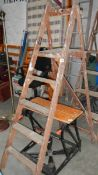 A wooden step ladders.