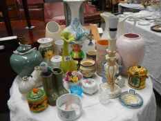 A mixed lot of vases and other china.