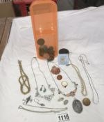 A mixed lot of costume jewellery & coins