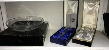 A Royal Doulton crystal glass fruit bowl & 2 Webb Corbett Coronation & silver wedding crystal