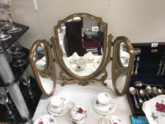 A Triptych dressing table mirror