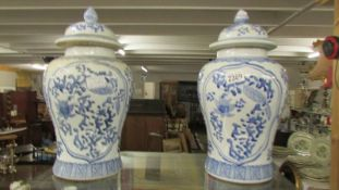 A large pair of Chinese unmarked ginger jars, 40 cm tall.