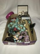 A box of mixed costume jewellery