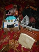 Two boxes of 20th century ladies hand bags.