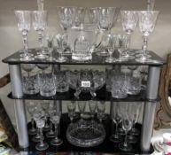 A good lot of glassware including 6 sets of 6 drinking glasses etc.
