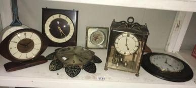 A selection of vintage/retro clocks including metamec