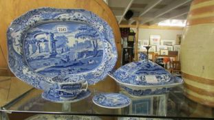 A Spode Italian meat platter (40 x 30 cm), tureen, small plate, cup and saucer.