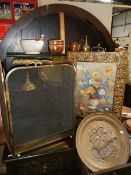 A good lot of brass ware including screens.