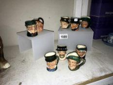 9 miniature Royal Doulton character jugs