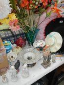 A large cut glass vase, vintage hat posy holder, novelty face condiment set etc.