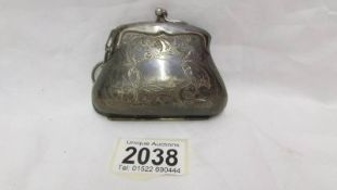 A 19th century plated chatelaine purse.