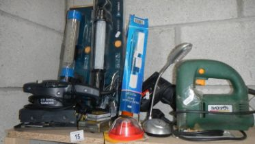 A quantity of electric hand tools for spare or repair.