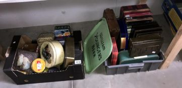2 boxes of old tins & boxes