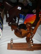 A mixed lot of wooden items.