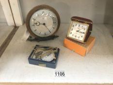A Smiths 1/10th pocket watch & metomec clock etc.