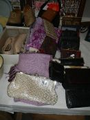A mixed lot of shoes, scarves, purses etc.