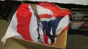 A box of assorted flags.