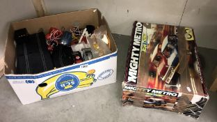A Scalextric mighty Mini's & a box of track, cars & hand sets etc.