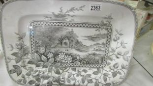 A 19th century meat platter, Alton J B, Rd No. 75778, 46 x 33 cm.