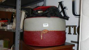 A 1960's pouffe and a quantity of purses.