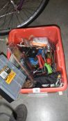 A red box full of tools.