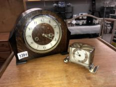 An 8 day chiming mantle clock & a 1920's 30 hour art deco clock