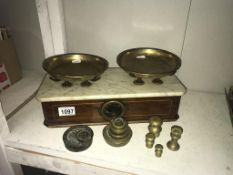 A set of Victorian inlaid mahogany shop scales with marble shelf & brass pans by PARNALL & Sons,