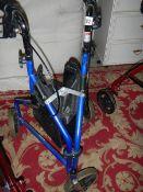 A three wheeled walking aid.