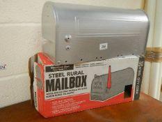 A steel rural mail box.