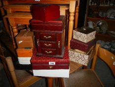 Approximately twelve jewellery and other boxes.