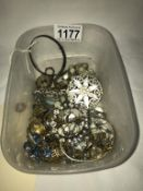 A mixed lot of old jewellery & watches including silver bangle etc.