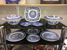 2 blue & white Willow ware tureens & plates including Mason's sandwich plate