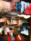 A mixed lot of scarves, gloves, bags etc.