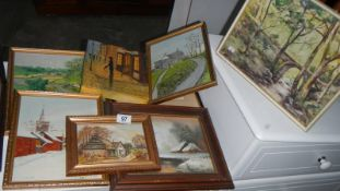 Seven assorted paintings,