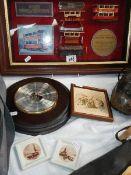 A framed and glazed tram collage, barometer etc.