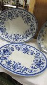 Two Wedgwood blue and white meat platters, 1 a/f, 50 x 40 cm and 46 x 37 cm.