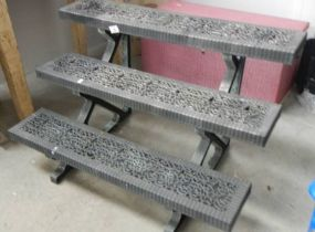 A three step plastic shelf.