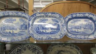 Three blue and white meat platters 43 x 33 cm, some wear and crazing to bottoms,