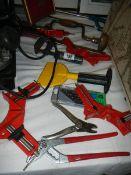 A quantity of tools, clamps etc.