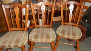 Three old pine kitchen chairs (collect only)