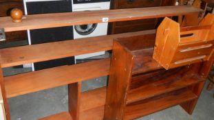 Two pine book cases, magazine rack, tray etc.