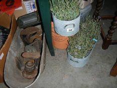 A quantity of galvanized items.