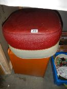 A 1940's footstool/pouffe and a pine box.