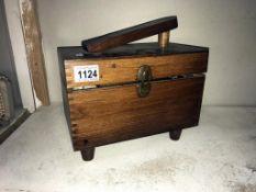 A vintage shoe shine box & contents