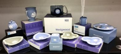 A selection of boxed Wedgwood jasperware including a Stubbs horse glass tankard