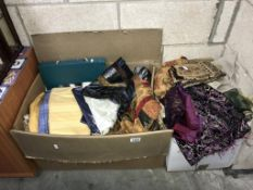 2 large boxes containing a quantity of fabric samples & assorted remnants
