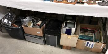 A very large amount of electronic goods including test equipment, mini TV's, books,