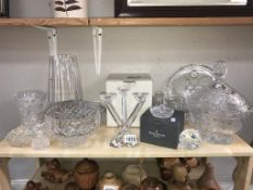 A selection of glass including Waterford & Torrington crystal 7 Villeroy & Boch triple candlestick