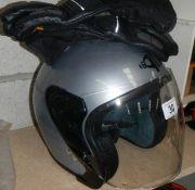 A motor cycle helmet.